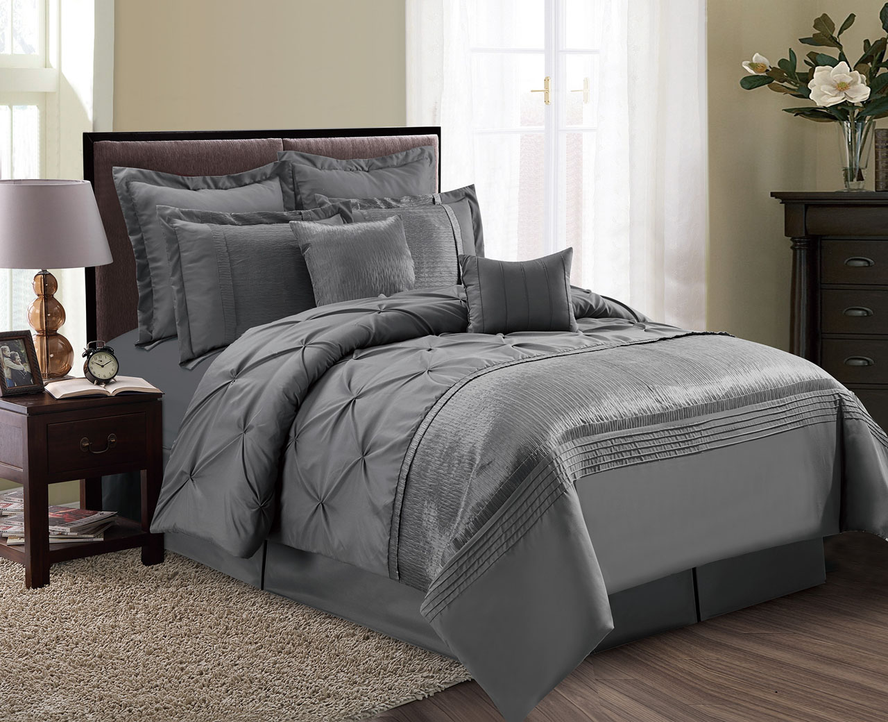 8 Piece Aubree Pinched Pleat Gray Comforter Set