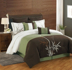 8 Piece Bamboo Embroidered Comforter Set