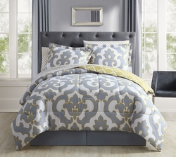 8 Piece Belvedere Gray/Yellow Reversible Bed in a Bag Set