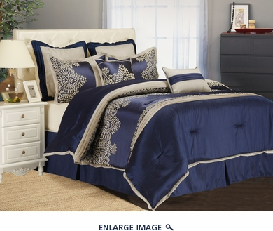 8 Piece Cal King Ankara Blue Comforter Set