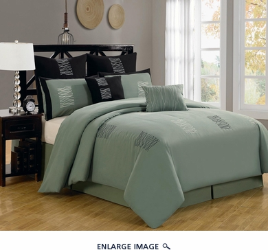 8 Piece Cal King Arena Green Comforter Set