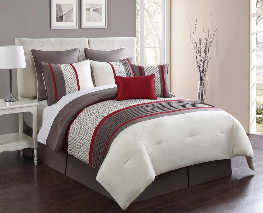 california king size bedspread sets - piece cal king aruba red taupe comforter set