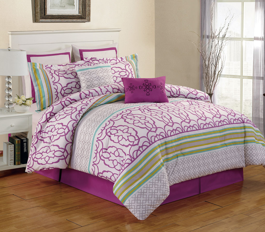 8 piece cal king arvada purple comforter set