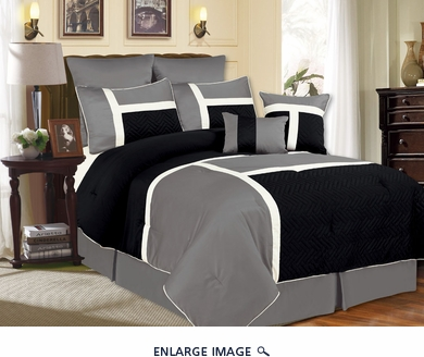 8 Piece Cal King Avondale Black and Gray Comforter Set