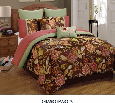 8 Piece Cal King Cressona Jacquard Comforter Set
