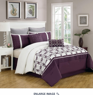 8 Piece Cal King Ellis Purple and White Bedding Comforter Set