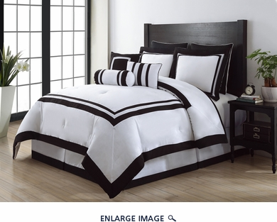 9 Piece Cal King Hotel Black and White Comforter Set