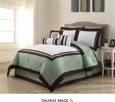 9 Piece Cal King Hotel Sage and White Comforter Set