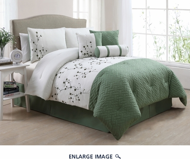 7 Piece Cal King Jade Comforter Set