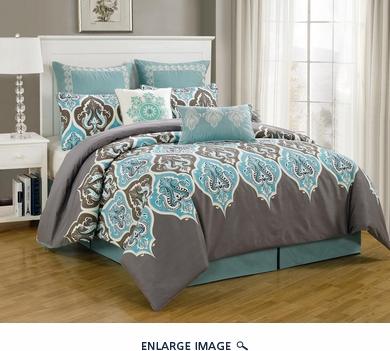8 Piece Cal King Monte Carlo Bedding Comforter Set