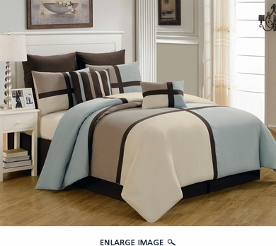 8 Piece Cal King Picasso Blue Comforter Set