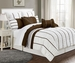 8 Piece Cal King Villa Coffee and White Comforter Set