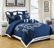 8 Piece Dulce Navy and White Comforter Set