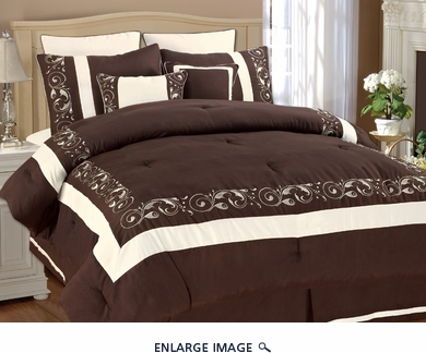 8 Piece Full Shilo Chocolate and White Embroidered Comforter Set