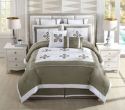 8 Piece Genevieve Taupe/Ivory Comforter Set