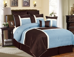 8 Piece King Avondale Blue and Chocolate Comforter Set