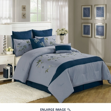8 Piece King Azura Bamboo Flower Comforter Set
