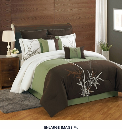 8 Piece King Bamboo Embroidered Comforter Set
