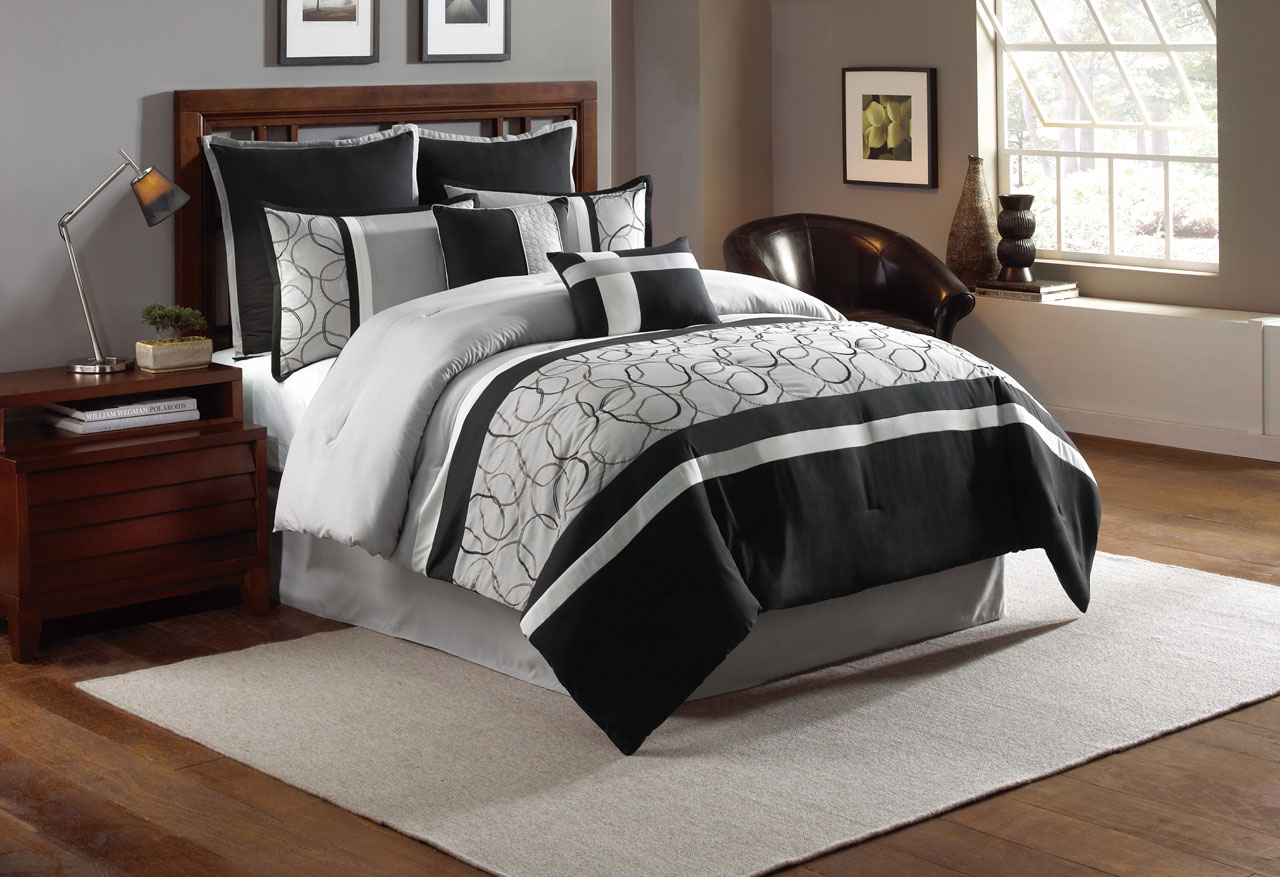 piece king blakely black gray comforter set