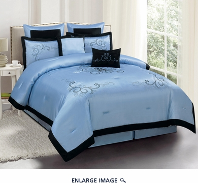 8 Piece King Camilla Blue Embroidered Comforter Set