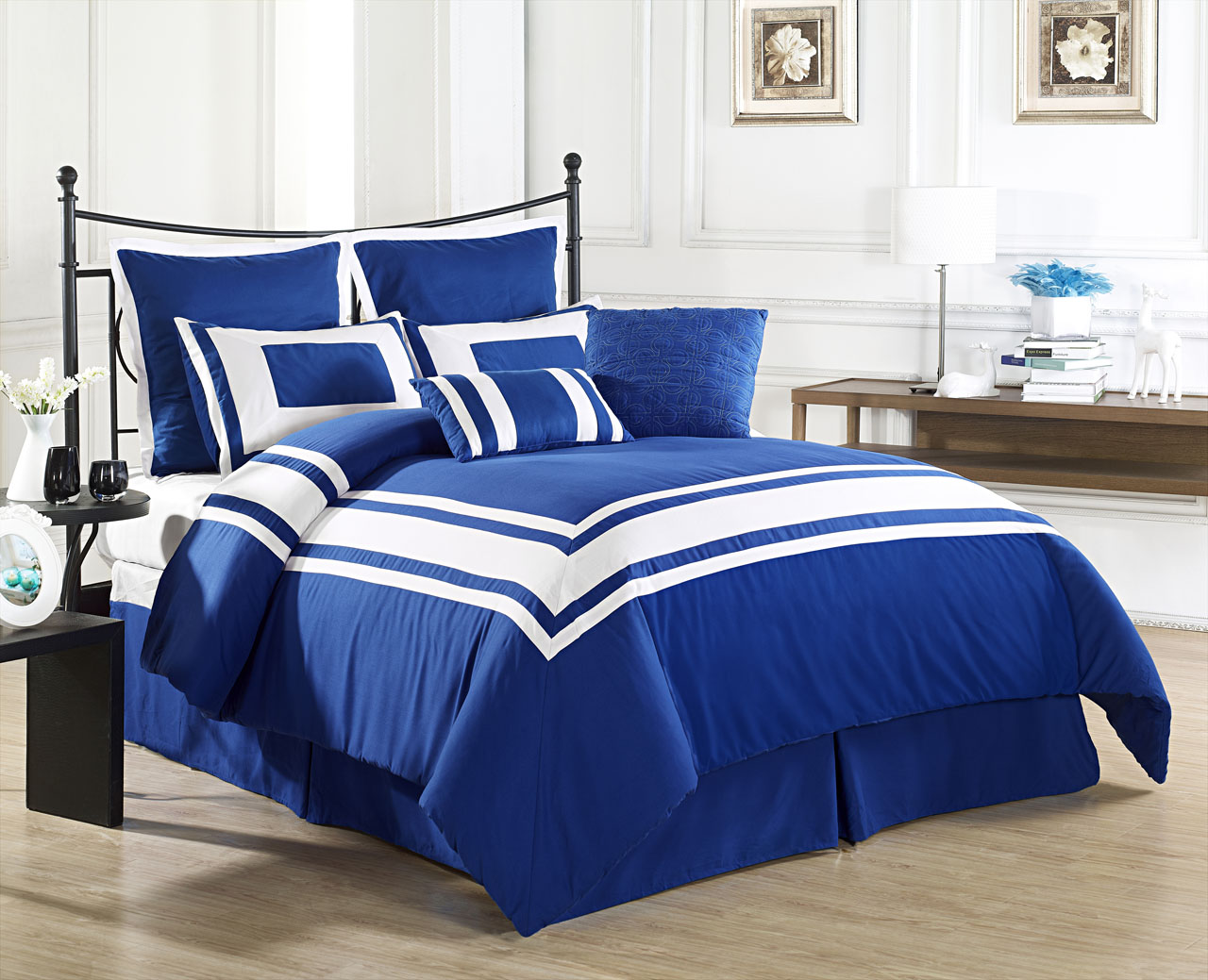 Blue bedspreads and comforters - 8 Piece King Lux Decor Royal Blue Comforter Set