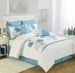 8 Piece King Maisie Blue Floral Embroidered Comforter Set