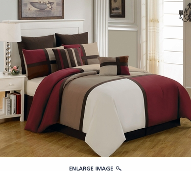 8 Piece King Picasso Burgundy Comforter Set