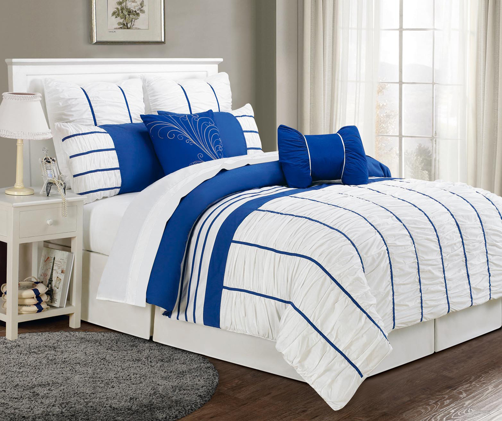 Curtains Ideas black and tan curtains : Piece King Villa Blue and White Comforter Set