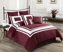 8 Piece Lux D�cor Red/Burgundy Comforter Set