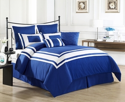 8 Piece Lux D�cor Royal Blue Comforter Set