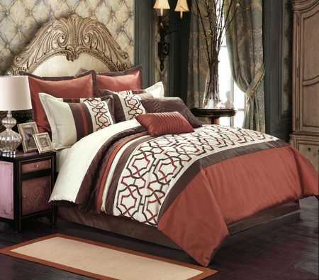 8 Piece Martin Chocolate/Brick Comforter Set