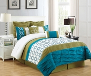 8 Piece Philomina Olive and Blue Comforter Set