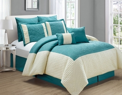 8 Piece Poloma Teal/Ivory Comforter Set