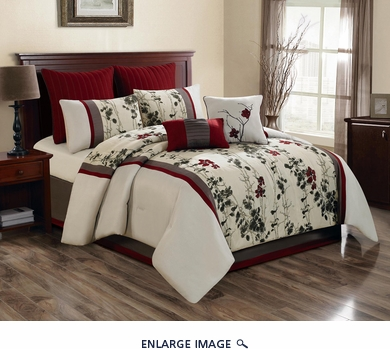 8 Piece Queen Adella Cream/Red/Green Floral Embroidered Comforter Set