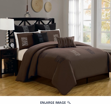 8 Piece Queen Arena Brown Comforter Set