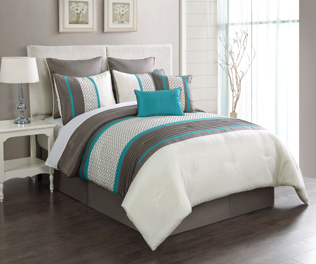 taupe turquoise embroidery queen comforter set stripes