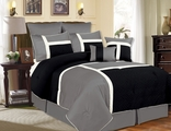 8 Piece Queen Avondale Black and Gray Comforter Set