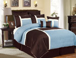 8 Piece Queen Avondale Blue and Chocolate Comforter Set