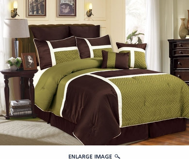 8 Piece Queen Avondale Sage and Chocolate Comforter Set