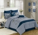 8 Piece Queen Azura Bamboo Flower Comforter Set