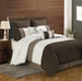 8 Piece Queen Bayley Coffee and Ivory Comforter Set