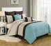 8 Piece Queen Beaufort Aqua and Beige Comforter Set