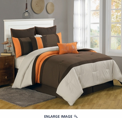 8 Piece Queen Bloomsbury Coffee and Orange Comforter Set