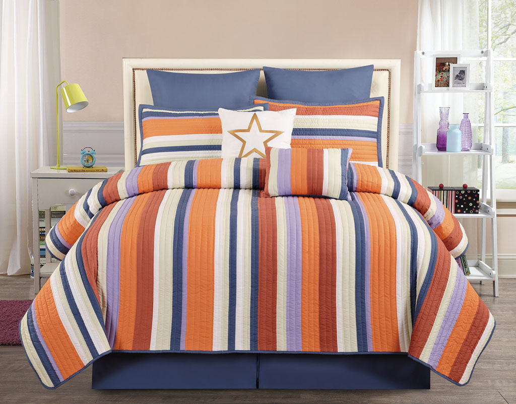 8 Piece Queen Broomfield Orange Red Comforter Set