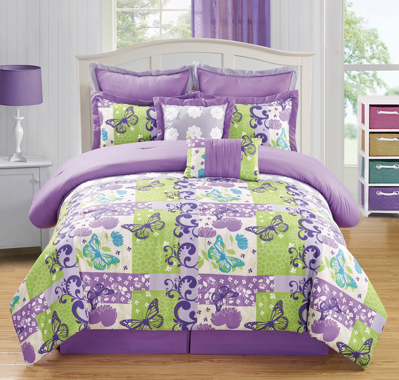 Piece Queen Butterfly Purple Green Comforter Set