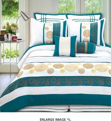 8 Piece Queen Citron Bedding Comforter Set