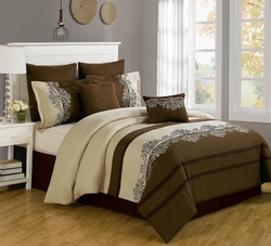 8 Piece Queen Coloma Embroidered Comforter Set
