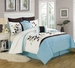 8 Piece Queen Evie Leaf Embroidered Comforter Set