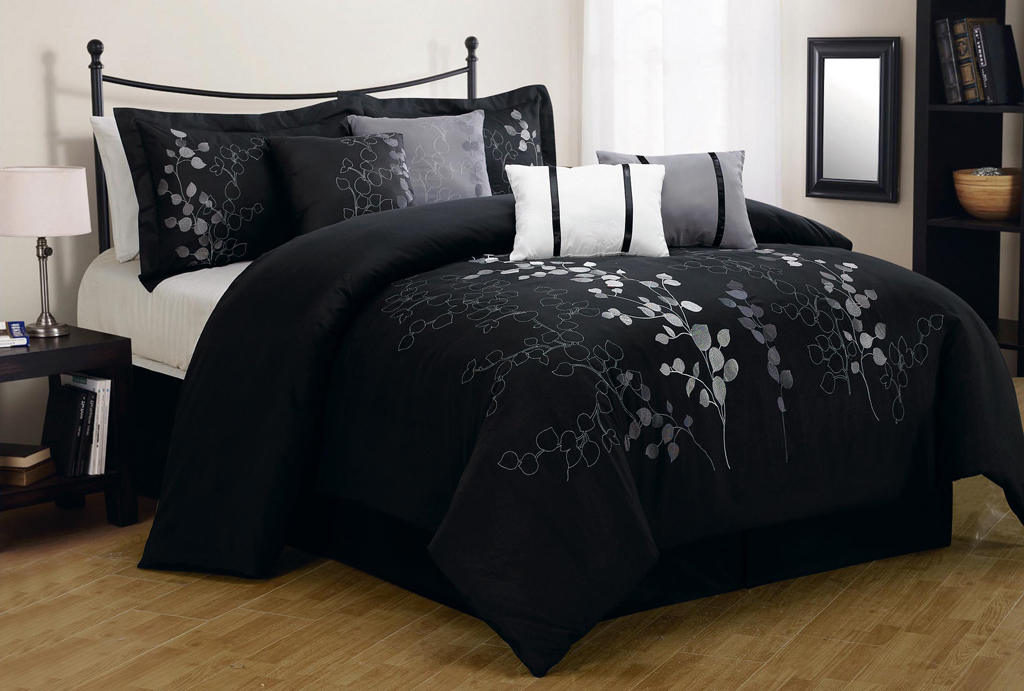 28 Best Black And Comforter Set black comforters sale  : 8 piece queen gatsby black and silver embroidered comforter set 6 from swissluxurywatches.net size 1024 x 691 jpeg 352kB