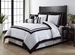 9 Piece Queen Hotel Black and White Comforter Set